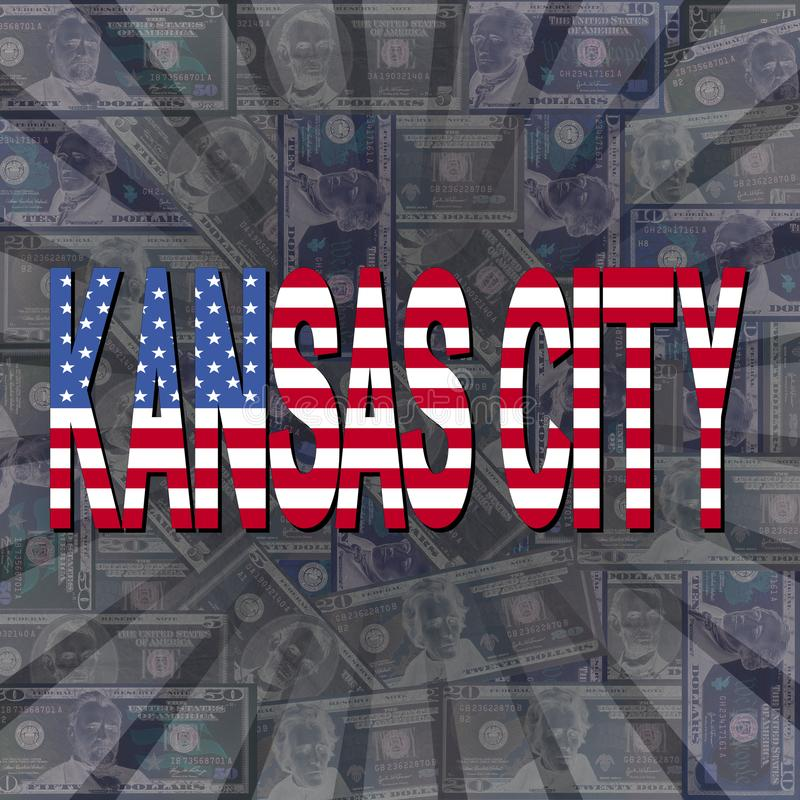 Κείμενο σημαιών πόλεων του Κάνσας στην απεικόνιση ηλιοφάνειας δολαρίων απεικόνιση αποθεμάτων