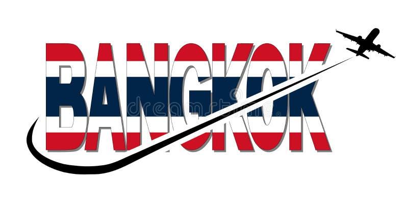 Κείμενο σημαιών της Μπανγκόκ με το αεροπλάνο και swoosh την απεικόνιση διανυσματική απεικόνιση