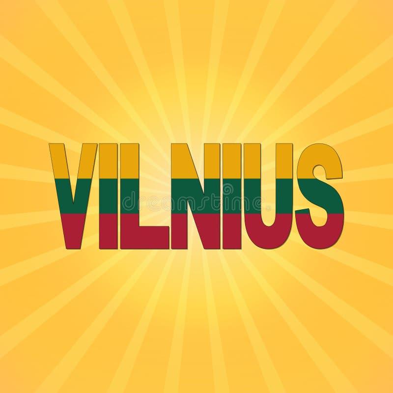 Κείμενο σημαιών Vilnius με την απεικόνιση ηλιοφάνειας απεικόνιση αποθεμάτων