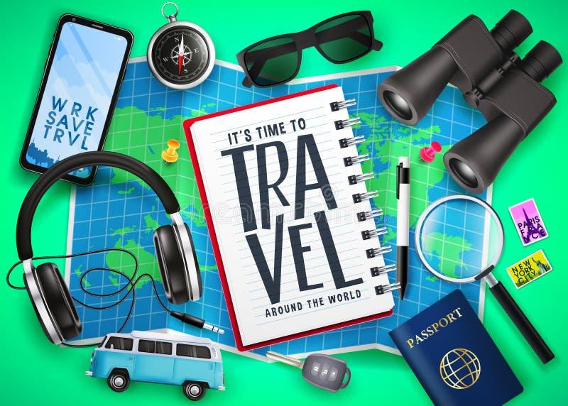 Κείμενο ταξιδιού στο σημειωματάριο πάνω από το χάρτη με τα τρισδιάστατα ρεαλιστικά διακινούμενα στοιχεία στοιχείων όπως το διαβατ διανυσματική απεικόνιση