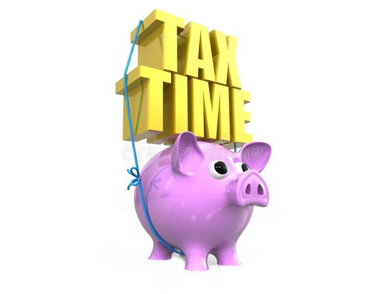 Κείμενο φορολογικού χρόνου με τη piggy τράπεζα, τρισδιάστατη απόδοση απομονωμένος στο άσπρο υπόβαθρο ελεύθερη απεικόνιση δικαιώματος