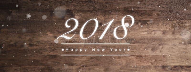 2018 κείμενο χαιρετισμού καλής χρονιάς στο ξύλινο υπόβαθρο εμβλημάτων στοκ εικόνες