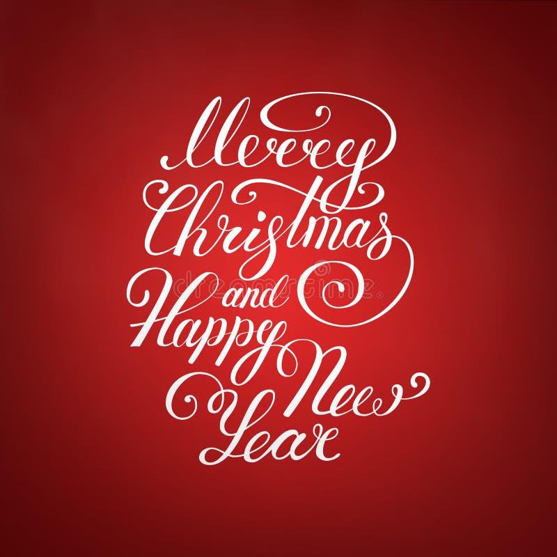 Κείμενο Χαρούμενα Χριστούγεννας Διανυσματικό σχέδιο EPS 10 εγγραφής απεικόνισης καλής χρονιάς ουρανός santa του Klaus παγετού Χρι ελεύθερη απεικόνιση δικαιώματος