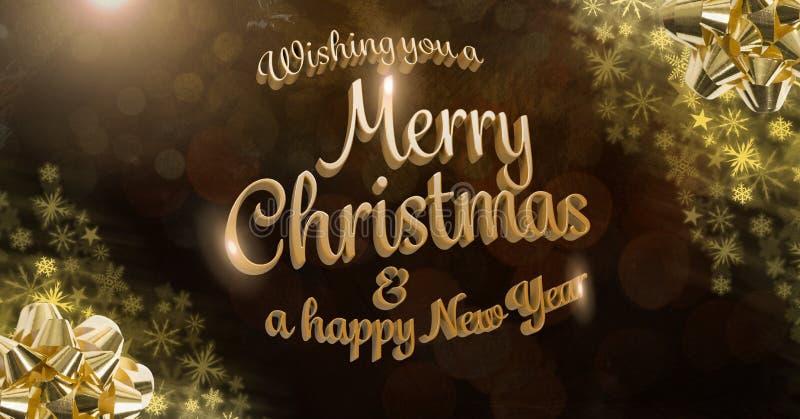 Κείμενο Χαρούμενα Χριστούγεννας και καλής χρονιάς και χρυσό Snowflake σχέδιο Χριστουγέννων απεικόνιση αποθεμάτων
