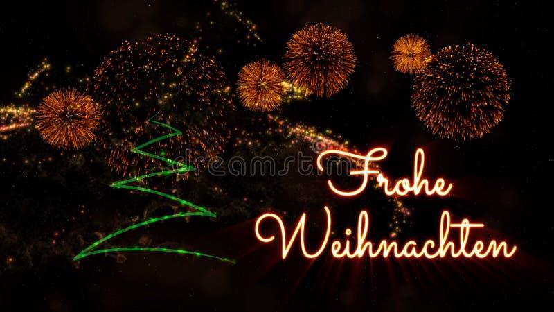 """Κείμενο Χαρούμενα Χριστούγεννας σε γερμανικό """"Frohe Weihnachten"""" πέρα από το δέντρο και τα πυροτεχνήματα πεύκων στοκ εικόνες"""