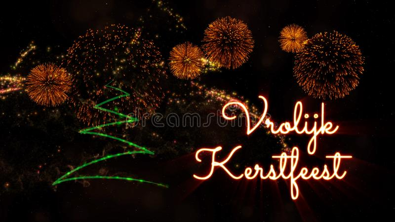 """Κείμενο Χαρούμενα Χριστούγεννας σε ολλανδικό """"Vrolijk Kerstfeest"""" πέρα από το δέντρο και τα πυροτεχνήματα πεύκων στοκ φωτογραφία"""