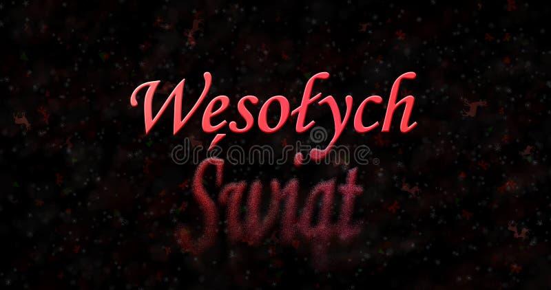 Κείμενο Χαρούμενα Χριστούγεννας στις πολωνικές στροφές Wesolych Swiat στη σκόνη FR στοκ φωτογραφίες με δικαίωμα ελεύθερης χρήσης