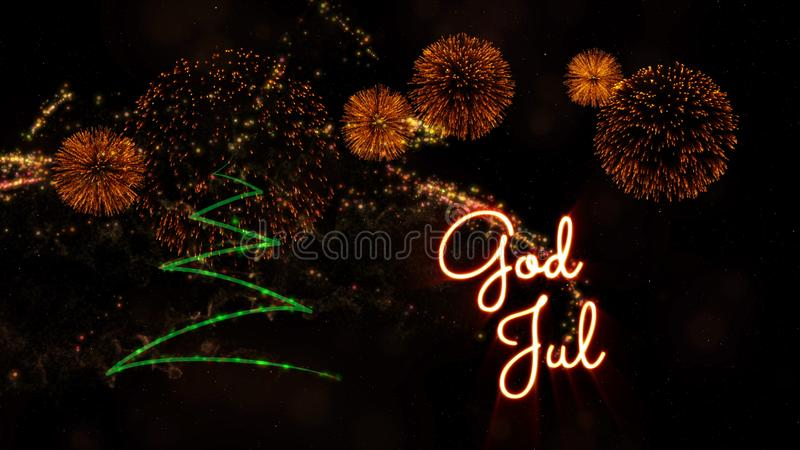 """Κείμενο Χαρούμενα Χριστούγεννας το νορβηγικό & σουηδικό """"Ιούλιο Θεών"""" πέρα από το δέντρο και τα πυροτεχνήματα πεύκων στοκ εικόνα"""