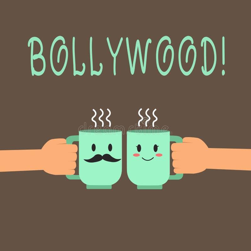 Κείμενο Bollywood γραψίματος λέξης Επιχειρησιακή έννοια για την ινδική δημοφιλή κινηματογραφία Mumbai βιομηχανίας κινηματογράφων  διανυσματική απεικόνιση