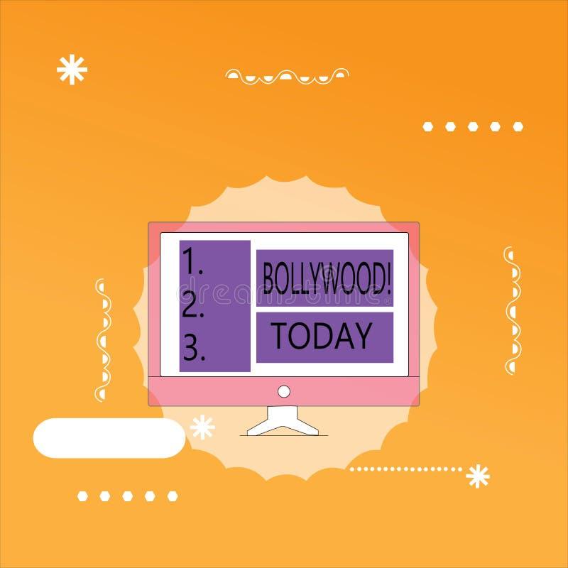 Κείμενο Bollywood γραψίματος λέξης Επιχειρησιακή έννοια για την ινδική δημοφιλή κινηματογραφία Mumbai βιομηχανίας κινηματογράφων  απεικόνιση αποθεμάτων