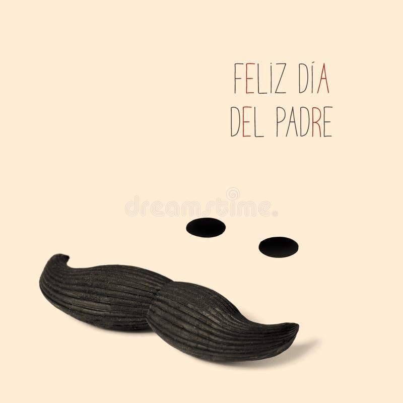 Κείμενο feliz dia del padre, ευτυχής ημέρα πατέρων στα ισπανικά διανυσματική απεικόνιση
