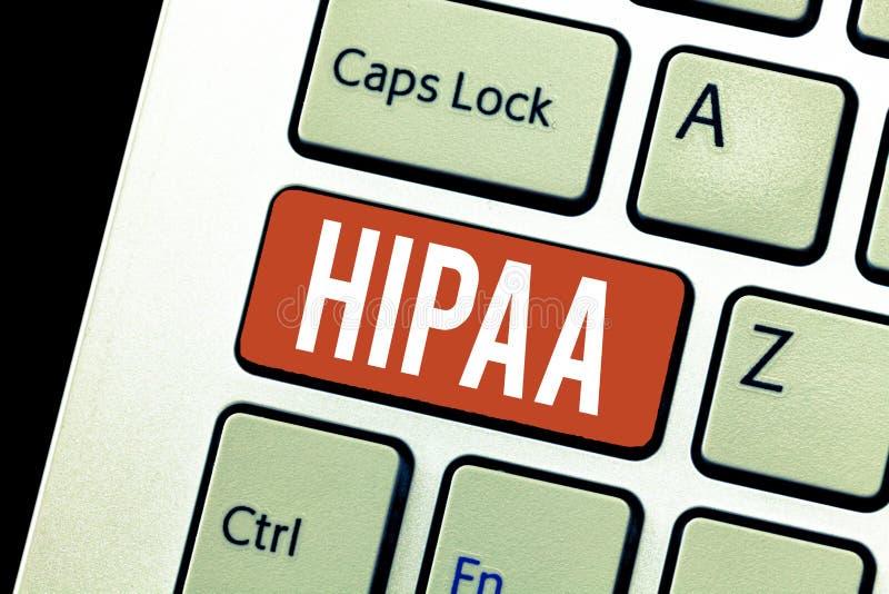 Κείμενο Hipaa γραφής Έννοια που σημαίνει τις στάσεις αρκτικολέξων για την υπευθυνότητα φορητότητας ασφάλειας υγείας στοκ φωτογραφίες