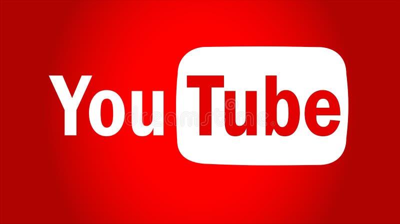 Κείμενο Youtube με το διάνυσμα εικονιδίων λογότυπων ελεύθερη απεικόνιση δικαιώματος