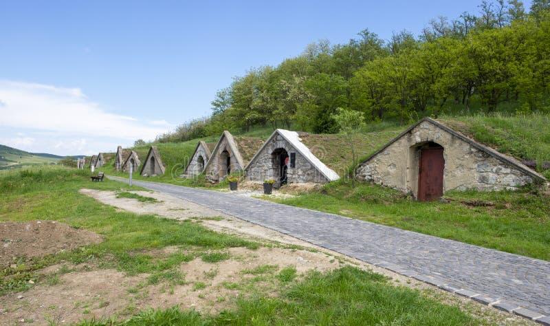Κελάρια κρασιού Tokaj σε Hercegkut, Ουγγαρία στοκ εικόνα με δικαίωμα ελεύθερης χρήσης