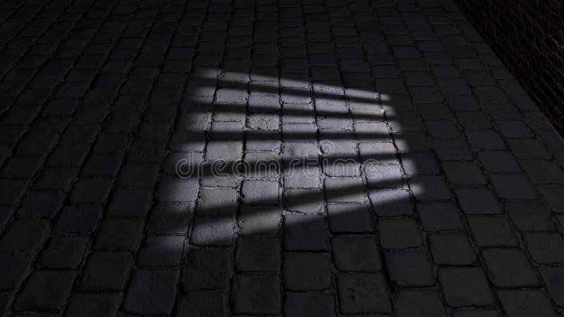 Κελί φυλακής, μέσα σε ένα κελί φυλακής Σκιές που προβάλλονται στο έδαφος, παράθυρο κυττάρων απεικόνιση αποθεμάτων