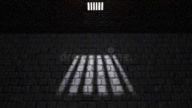 Κελί φυλακής, μέσα σε ένα κελί φυλακής Σκιές που προβάλλονται στο έδαφος, παράθυρο κυττάρων ελεύθερη απεικόνιση δικαιώματος
