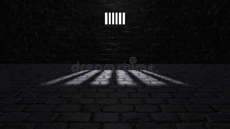 Κελί φυλακής, μέσα σε ένα κελί φυλακής Σκιές που προβάλλονται στο έδαφος, παράθυρο κυττάρων διανυσματική απεικόνιση