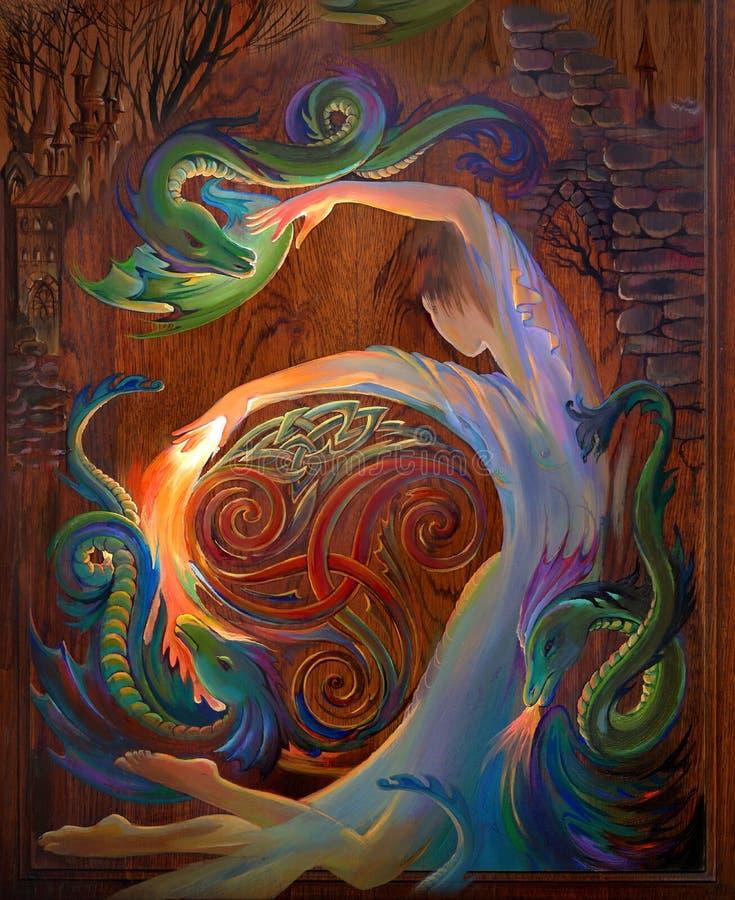 Κελτικός χορός Πορτρέτο του όμορφου χορού κοριτσιών με τους δράκους Ελαιογραφία στο ξύλο διανυσματική απεικόνιση