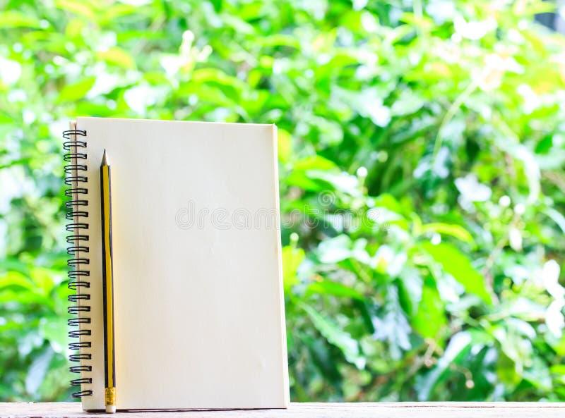 Κενά βιβλίο και μολύβι στο ξύλινο και φυσικό υπόβαθρο στοκ φωτογραφία