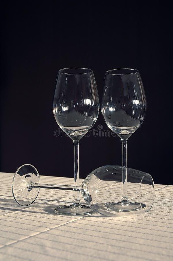 κενά γυαλιά τρία κρασί στοκ εικόνες