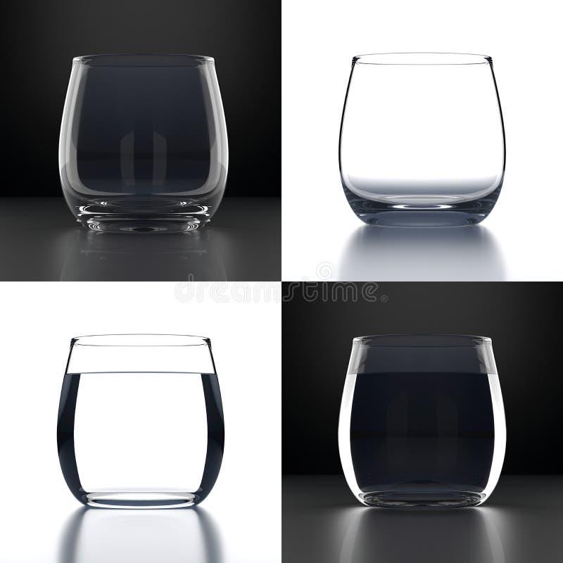 Κενά γυαλιά νερού καθορισμένα ελεύθερη απεικόνιση δικαιώματος