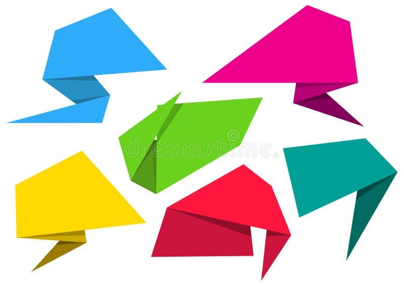 Κενά διανυσματικά εμβλήματα εγγράφου origami διανυσματική απεικόνιση