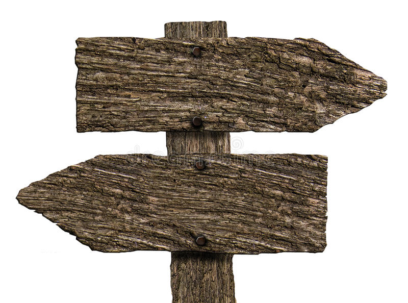 Κενά διπλά ξύλινα σημάδια κατεύθυνσης (στο λευκό) στοκ εικόνες