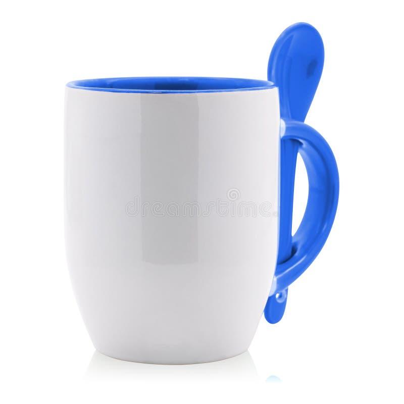 Κενά κούπα και κουτάλι καφέ που απομονώνονται στο άσπρο υπόβαθρο Κενό φλυτζάνι τσαγιού για το σχέδιό σας ( απεικόνιση αποθεμάτων