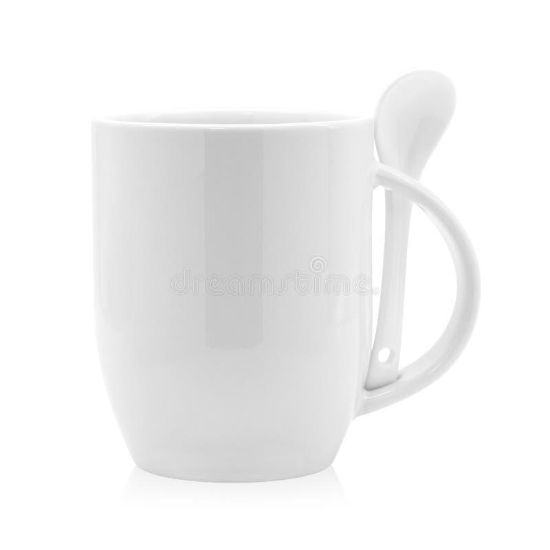 Κενά κούπα και κουτάλι καφέ που απομονώνονται στο άσπρο υπόβαθρο Κενό φλυτζάνι τσαγιού για το σχέδιό σας ( ελεύθερη απεικόνιση δικαιώματος