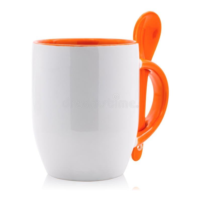 Κενά κούπα και κουτάλι καφέ που απομονώνονται στο άσπρο υπόβαθρο Κενό φλυτζάνι τσαγιού για το σχέδιό σας ( διανυσματική απεικόνιση