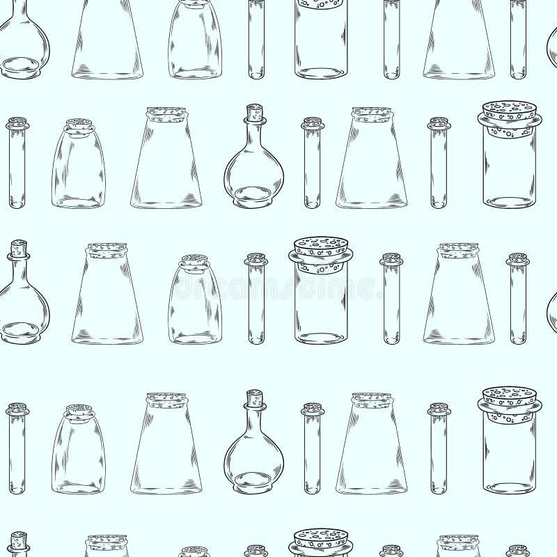 Κενά μπουκάλια σε ένα άνευ ραφής σχέδιο σειρών διανυσματική απεικόνιση