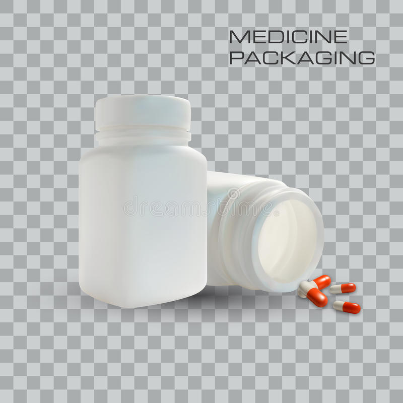 Κενά μπουκάλι και χάπια ιατρικής στο διαφανές υπόβαθρο επίσης corel σύρετε το διάνυσμα απεικόνισης Πρότυπο για την επιχείρηση απεικόνιση αποθεμάτων