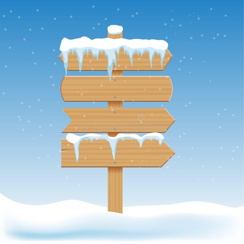 Κενά ξύλινα σημάδια με το χιόνι Έμβλημα πινάκων διαφημίσεων, πινακίδα κατευθυντική, που δείχνει guidepost τις χειμερινές διακοπές απεικόνιση αποθεμάτων