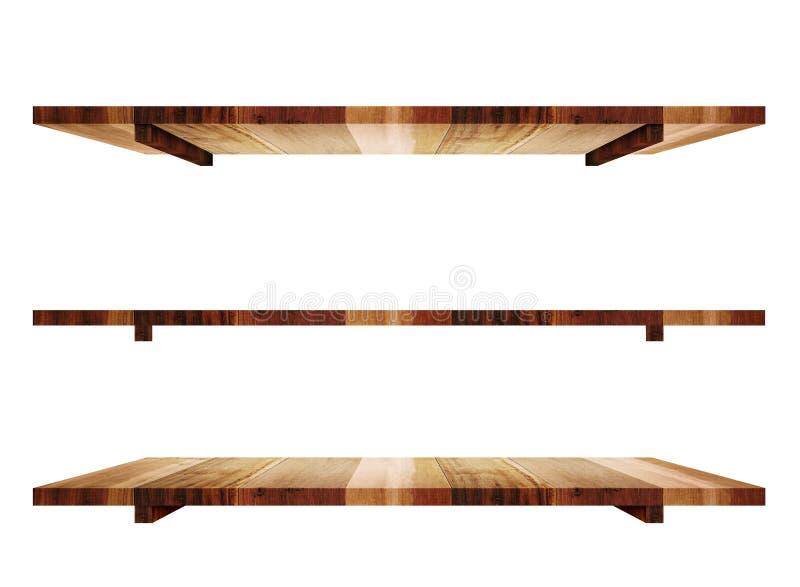 Κενά ξύλινα shelfs κατά την άποψη 3 γωνίας που απομονώνεται στο άσπρο υπόβαθρο απεικόνιση αποθεμάτων