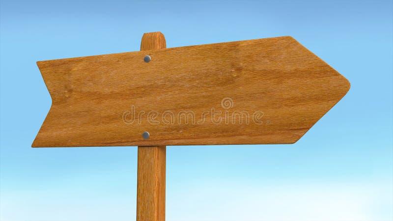 Κενά οδικό ξύλινα σημάδι βελών και υπόβαθρο ουρανού ελεύθερη απεικόνιση δικαιώματος