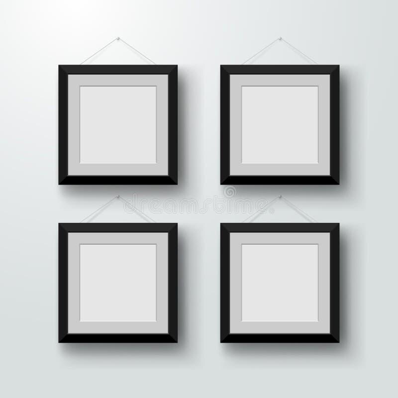 Κενά πλαίσια φωτογραφιών στον τοίχο Σχέδιο για ένα σύγχρονο εσωτερικό επίσης corel σύρετε το διάνυσμα απεικόνισης Απομονωμένος στ διανυσματική απεικόνιση