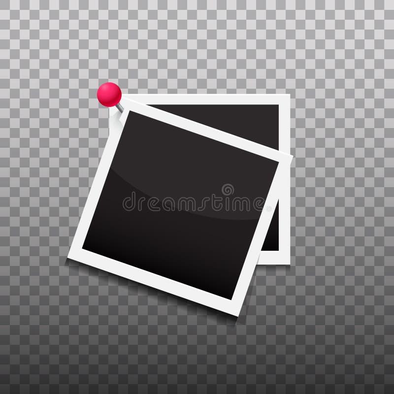 Κενά πλαίσια φωτογραφιών ως σύνολο που καρφώνεται με μια κόκκινη διανυσματική απεικόνιση καρφιτσών ελεύθερη απεικόνιση δικαιώματος
