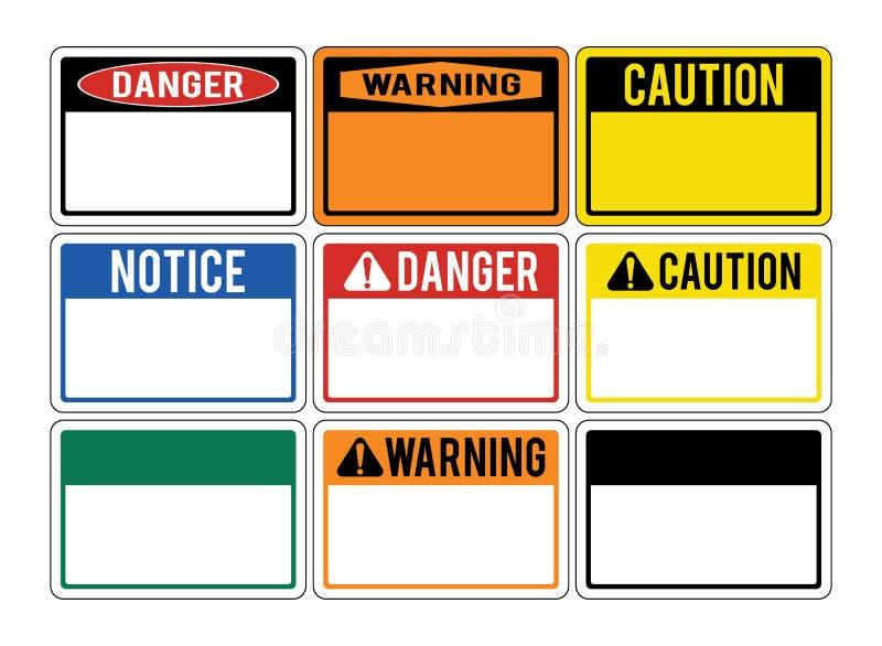 Κενά προειδοποιητικά σημάδια Σύνολο προειδοποιητικών σημαδιών για τους κινδύνους Dan διανυσματική απεικόνιση
