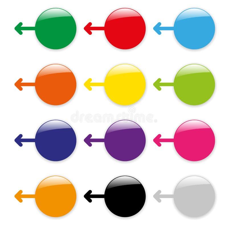 Κενά στιλπνά εικονίδια βελών χρώματος απεικόνιση αποθεμάτων