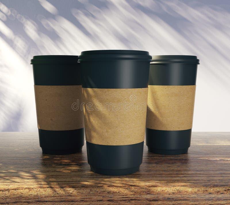Κενά φλυτζάνια καφέ με τρεις σκιές απεικόνιση αποθεμάτων