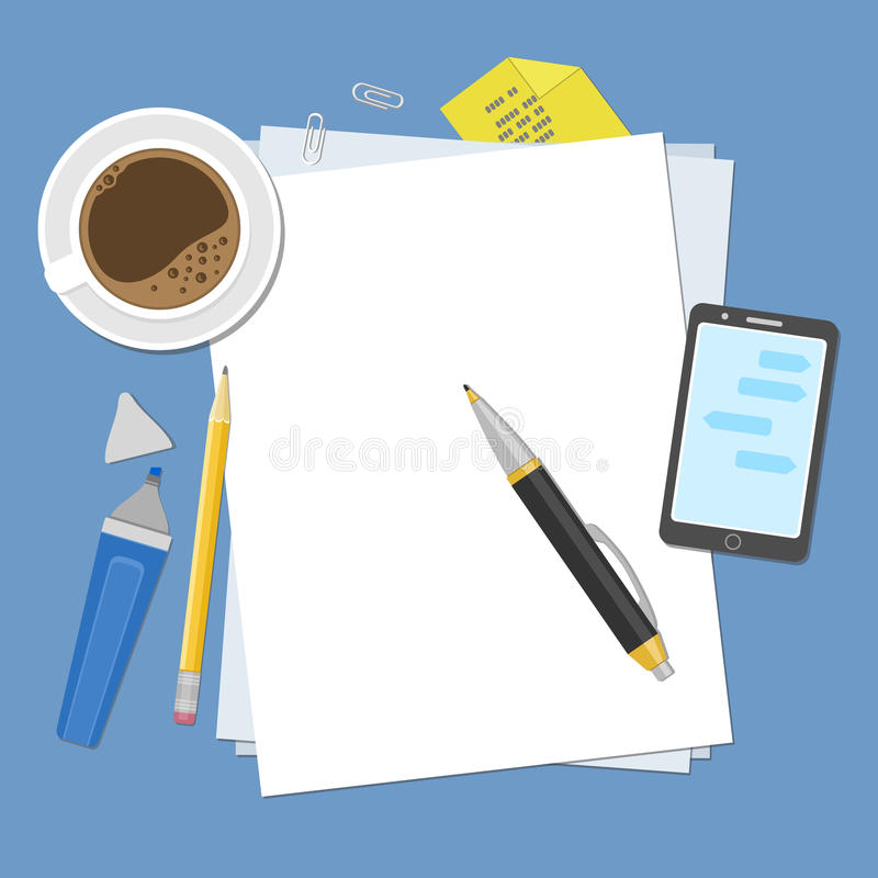 Κενά φύλλα του εγγράφου για τον υπολογιστή γραφείου Προετοιμασία για την εργασία, τις σημειώσεις ή τα σκίτσα επάνω από την όψη απεικόνιση αποθεμάτων