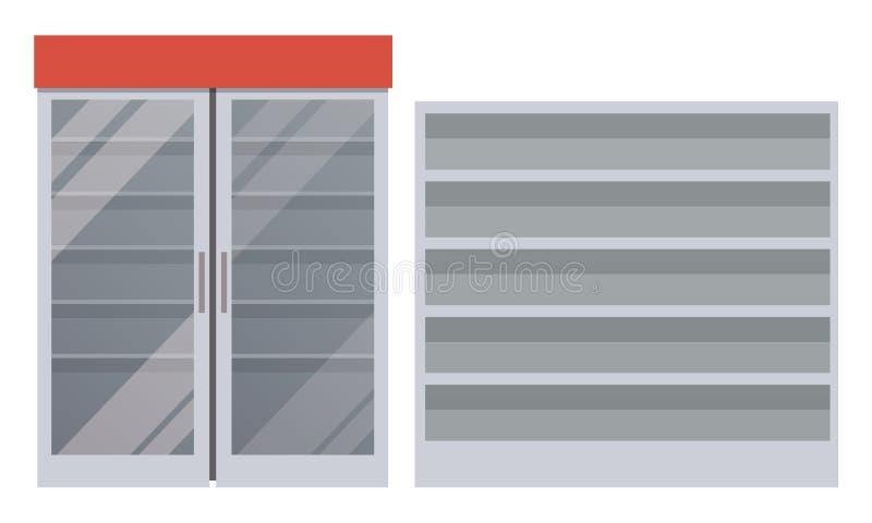 Κενά ψυγείο και ράφια, διανυσματική απεικόνιση απεικόνιση αποθεμάτων