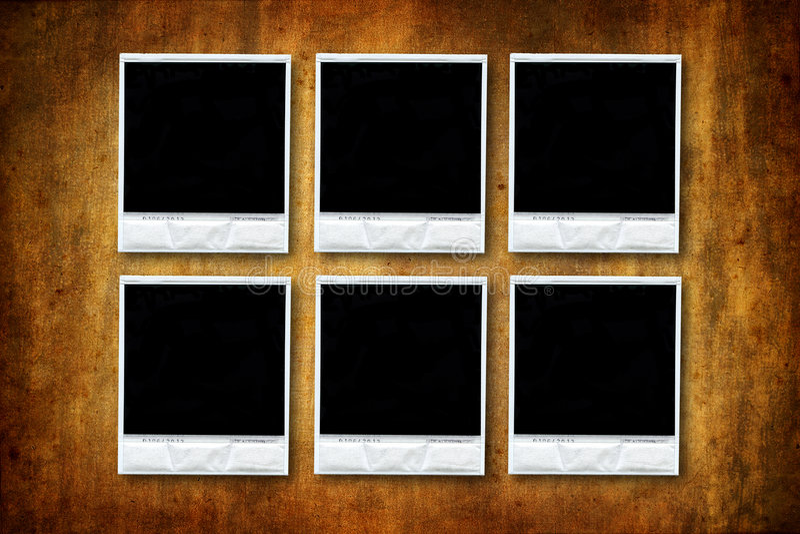κενά polaroids έξι grunge ανασκόπησης στοκ φωτογραφίες