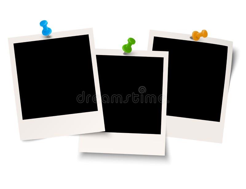 Κενά polaroids με τη βελόνα καρφιτσών διανυσματική απεικόνιση