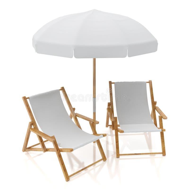 Κενές άσπρες δύο καρέκλες και ομπρέλα ήλιων που απομονώνονται στο άσπρο υπόβαθρο διανυσματική απεικόνιση