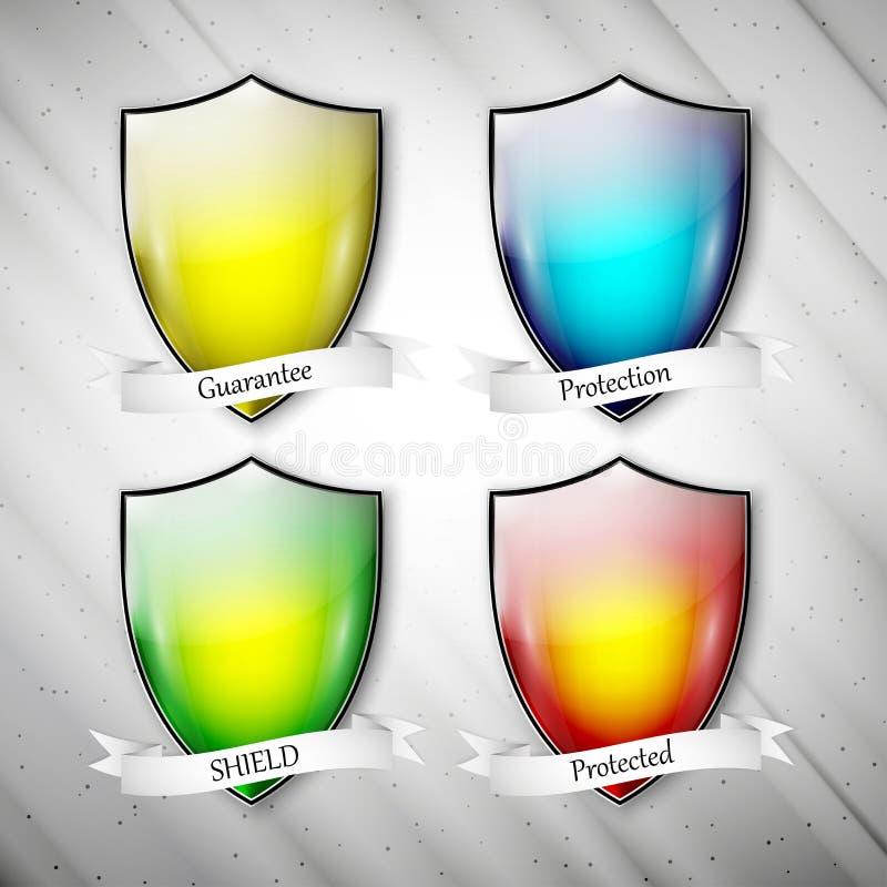 Κενές απομονωμένες χρωματισμένες ασπίδες βρώμικο σε γκρίζο διανυσματική απεικόνιση