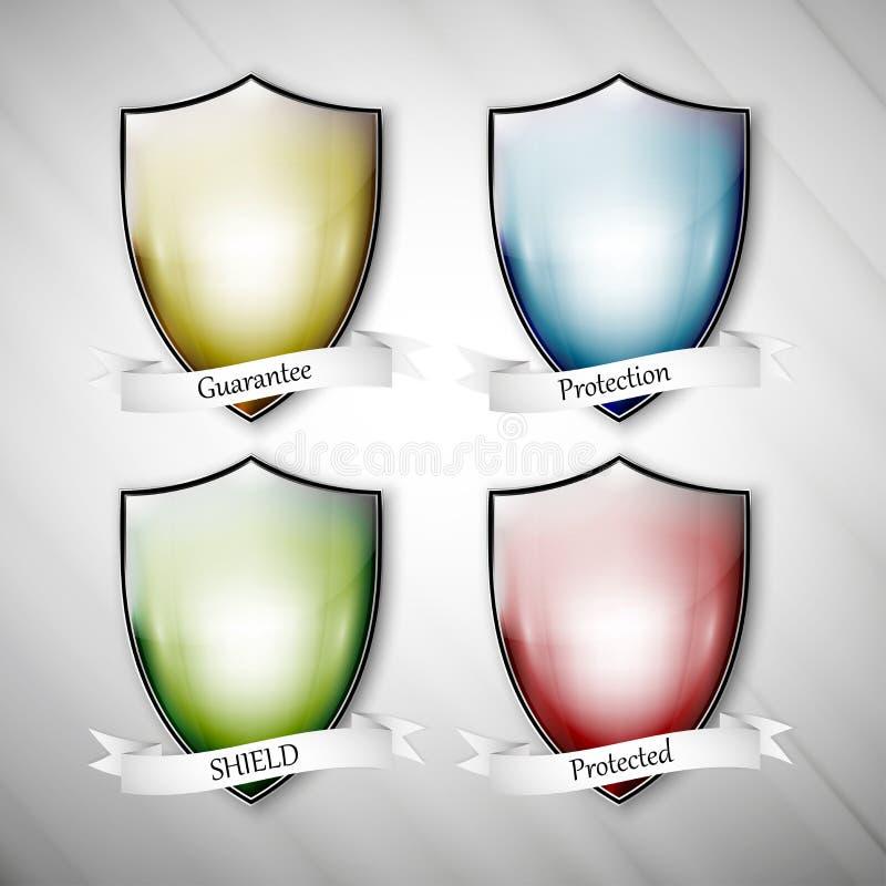 Κενές απομονωμένες χρωματισμένες ασπίδες βρώμικο σε γκρίζο ελεύθερη απεικόνιση δικαιώματος