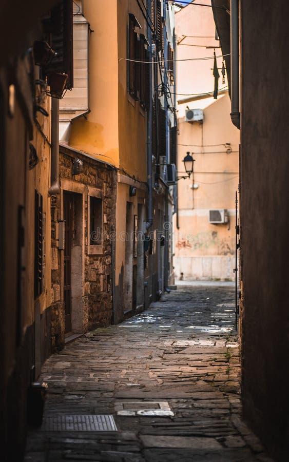 Κενές οδοί κυβόλινθων στην πόλη παραλιών Piran, Σλοβενία στοκ εικόνες