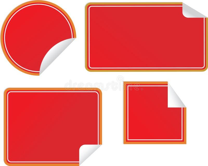 κενές τέσσερις ετικέτες γωνιών που τυλίγονται επάνω απεικόνιση αποθεμάτων