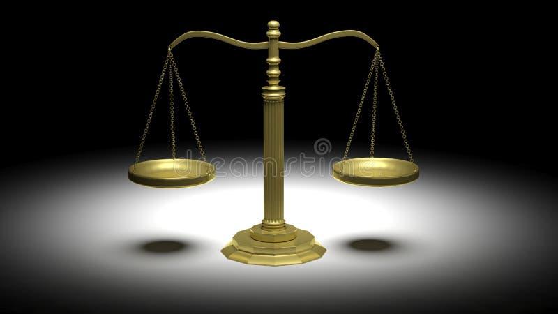 Κενές χρυσές κλίμακες της δικαιοσύνης απεικόνιση αποθεμάτων